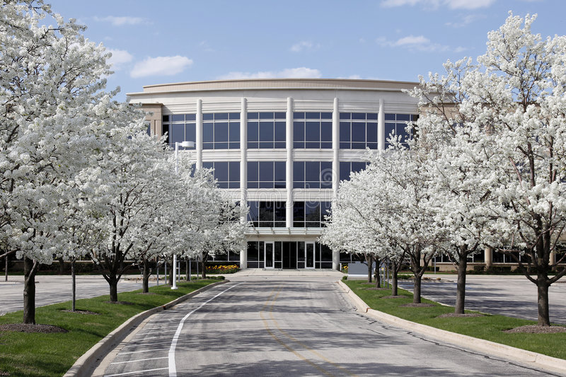 Office building in spring stock photography