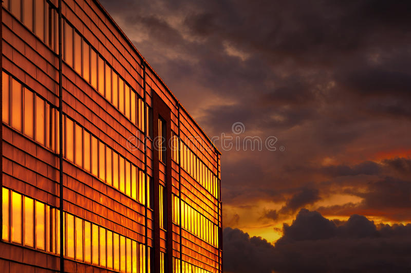 Office building at sunse royalty free stock image