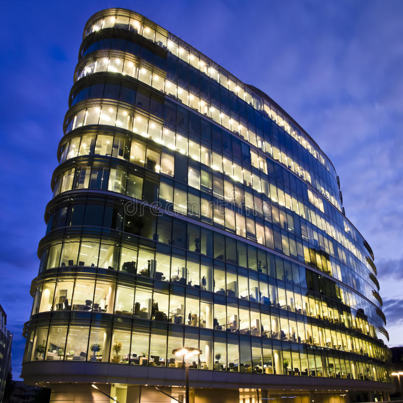 Office Building at twilight. Illuminated Office Building at twilight, London stock photos