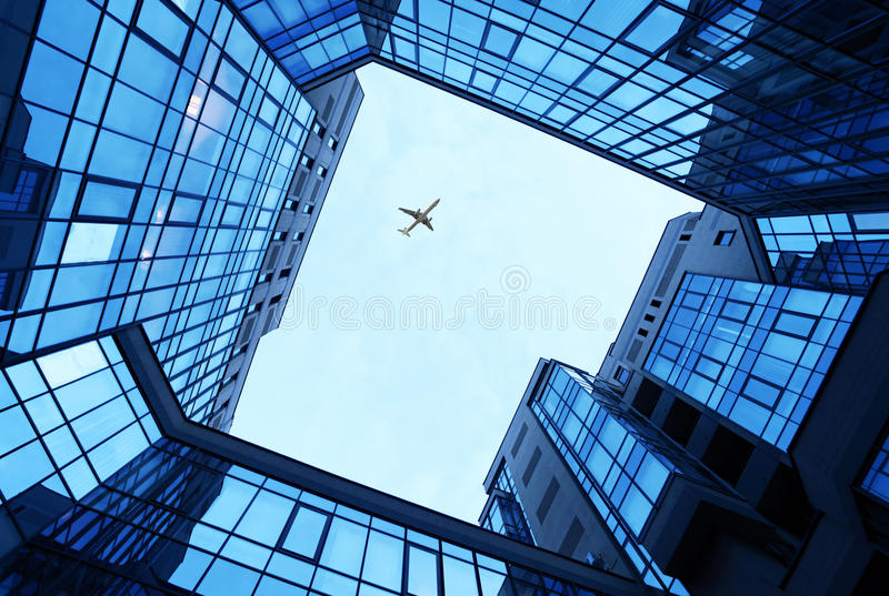 Office Buildings As A Frame And Sky Stock Photo