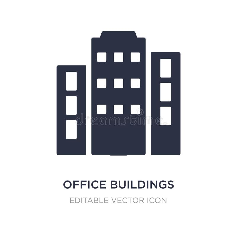 Office buildings icon on white background. Simple element illustration from Buildings concept. Office buildings icon symbol design royalty free illustration
