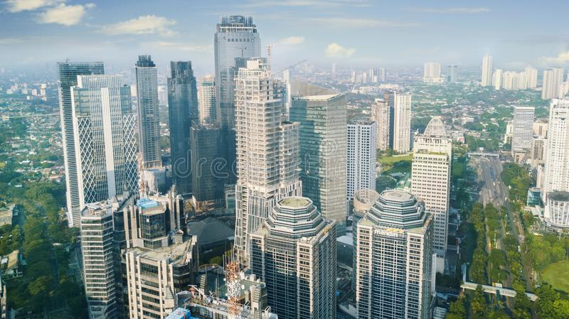 Office buildings in Jakarta central business district. Jakarta, Indonesia. February 22, 2018: Aerial view of high office buildings in Jakarta central business stock photography