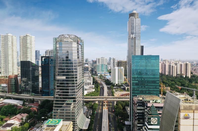Office buildings in Jakarta central business district royalty free stock images