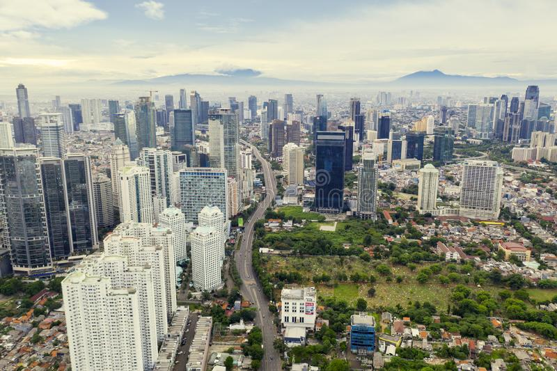 Office buildings in Jakarta city stock photo