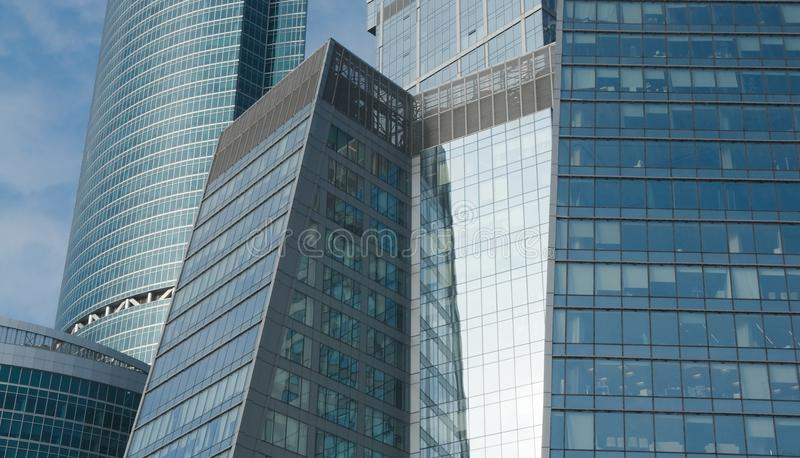 Background of the walls of office buildings. Office buildings of Moscow business center in winter sunny day stock photography