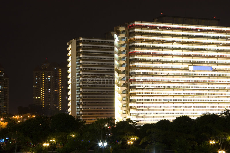Download Office Buildings At Night Stock Images - Image: 4076194