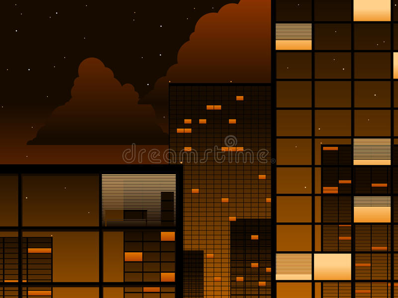 Download Office Buildings At Night Royalty Free Stock Image - Image: 9646696
