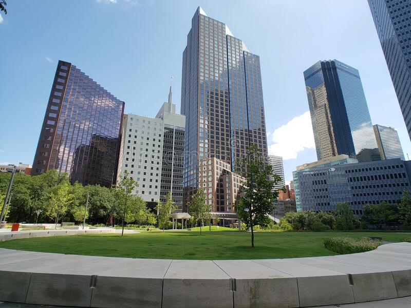 Office buildings and Pacific plaza in downtown of city Dallas TX USA royalty free stock photo