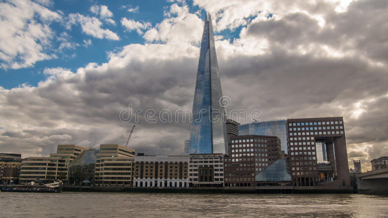 Office buildings and the Shard in the South bank of the river Thames in London. View of office buildings and the Shard in the South bank of the river Thames in royalty free stock photo