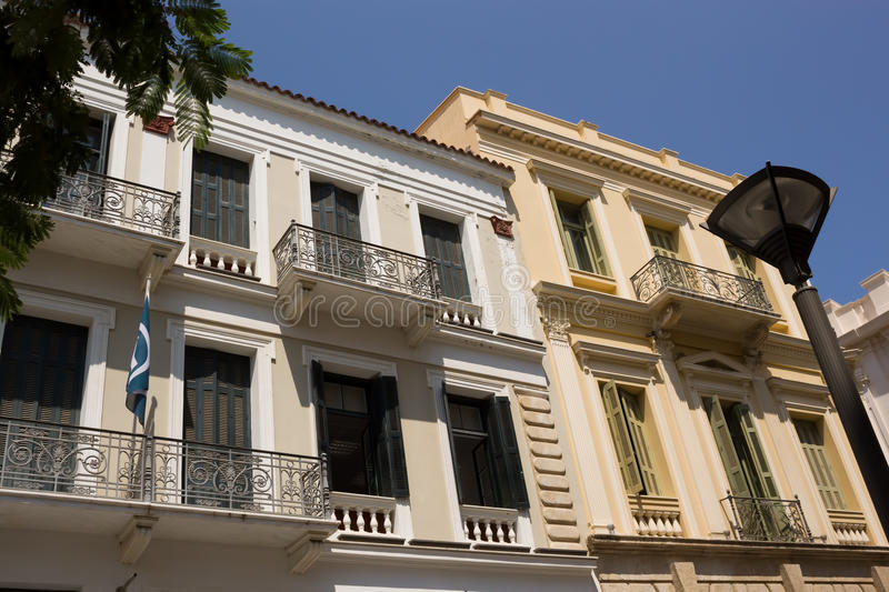 Office buildings on the streets of Heraklion stock images