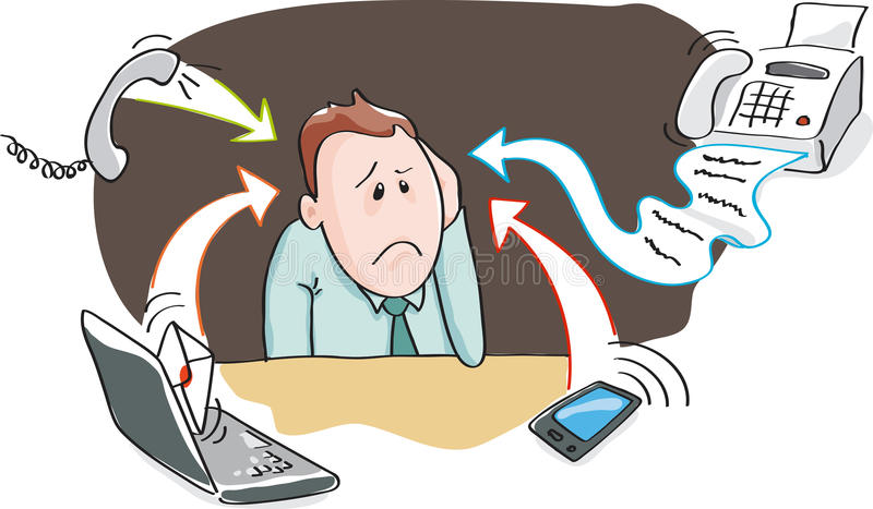 Office burnout - information overload by electronic devices royalty free stock photography