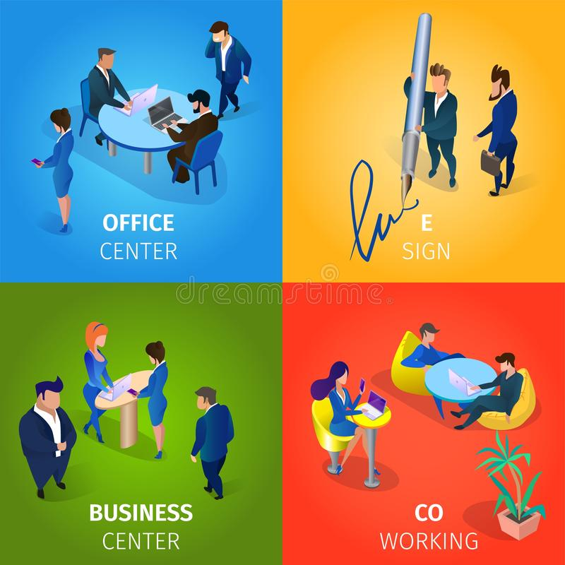 Office and Business Center, E-sign, Coworking Set. Office and Business Center, E-sign, Coworking Square Banners Set. Businesspeople Characters Working Process stock illustration