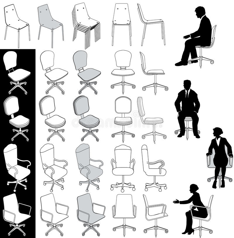 Office Business Chairs Furniture Drawings Set Royalty Free Stock Images