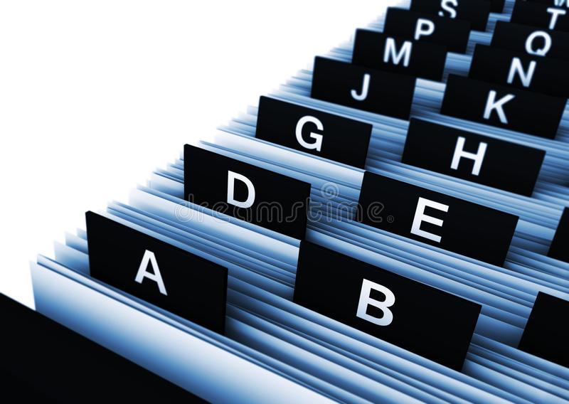 Office Business Directory. Business concept with a 3d rendering close-up view of a office customers directory archive with alphabet letters stock photo