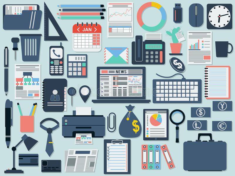 Office and business flat icons vector illustration