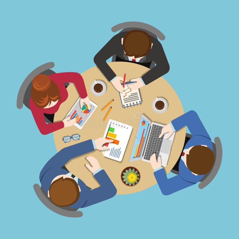 Office Business Flat  Staff Report Teamwork Analytics Stock Vector