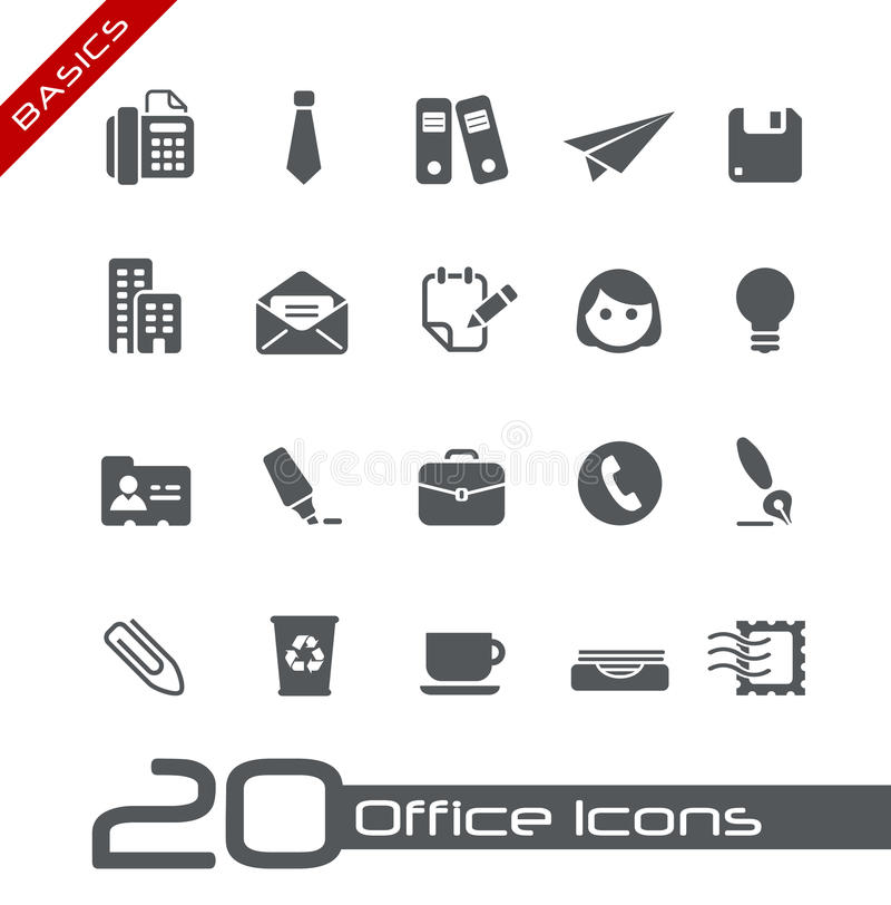 Office & Business Icons// Basics royalty free illustration
