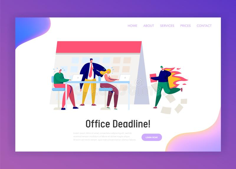 Office Business Manager Work Overtime at Deadline Landing Page. Stress Character Complete Task under Hard Boss Pressure. Conflict Time Report Website or Web vector illustration