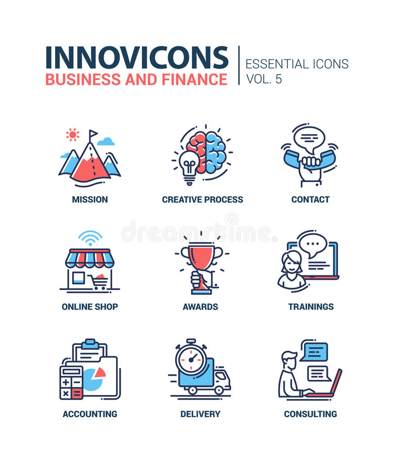 Office, business modern thin line design icons and pictograms vector illustration