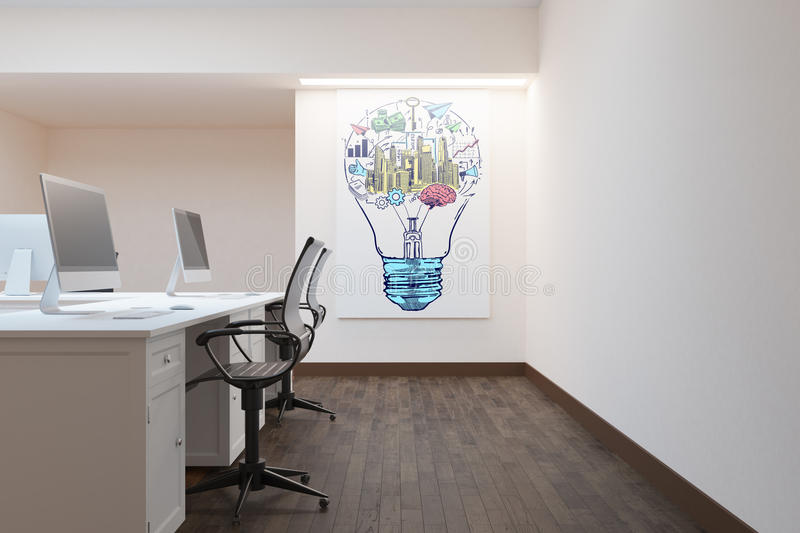 Office with business sketch. Side view of modern office interior with business sketch on poster. 3D Rendering vector illustration