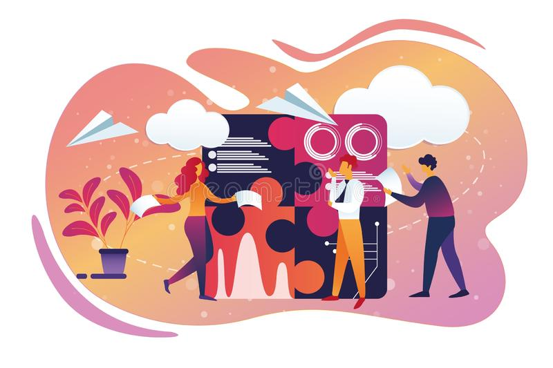 Office Business and Teamworking Process. Lifestyle royalty free illustration