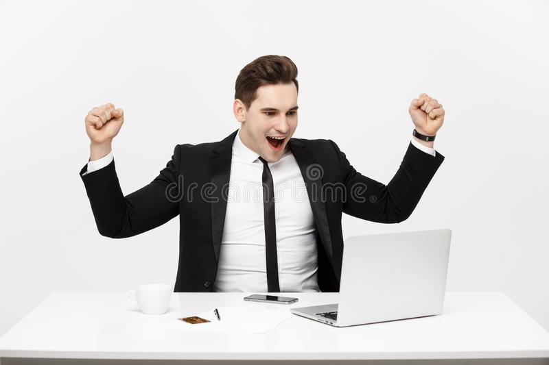 Office, business, technology, finances and internet concept - smiling businessman with laptop computer and documents at. Office isolated over white background royalty free stock images