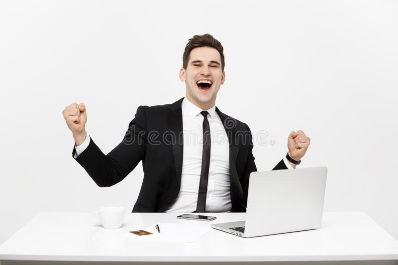 Office, business, technology, finances and internet concept - smiling businessman with laptop computer and documents at. Office isolated over white background stock image