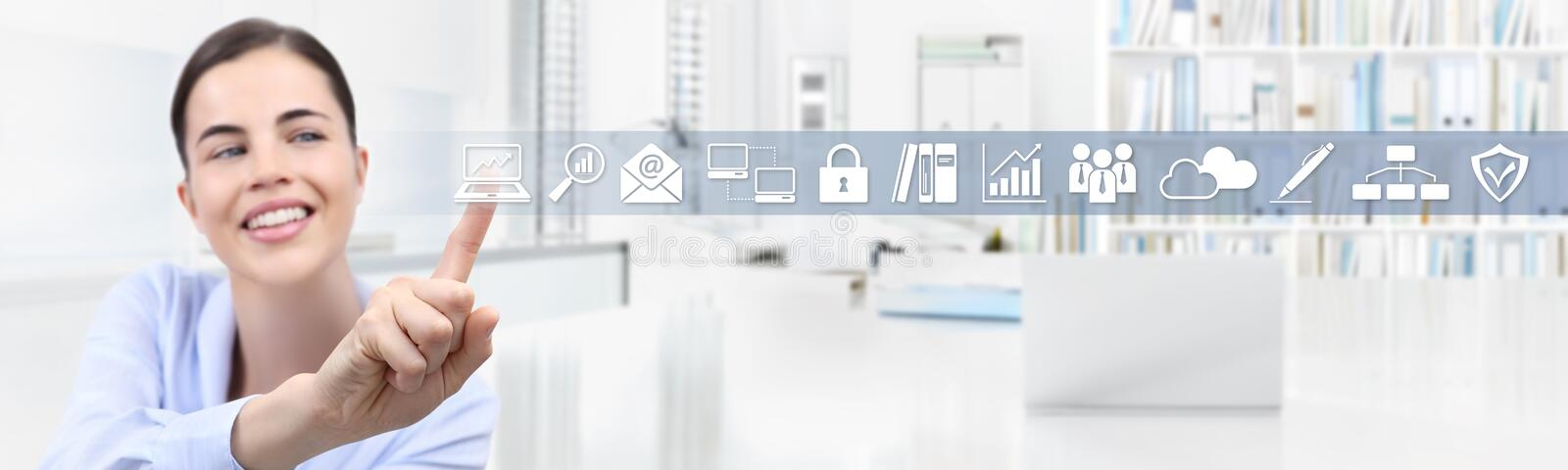 Office business work concept, hand of smiling woman touch screen royalty free stock photos