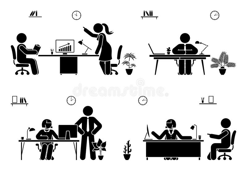 Office busy working stick figure man and woman vector icon set. Teamwork, solution, communication, supervisor pictogram. royalty free illustration