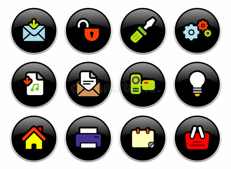 Download Office buttons stock vector. Image of lock, book, graphics - 1685118