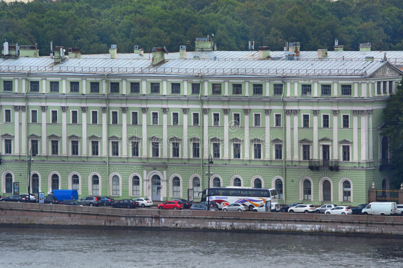 Office case of Marble palace at Neva river from height of bird's flight in Saint Petersburg, Russia royalty free stock photos