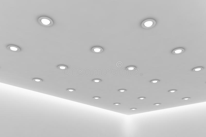 Office ceiling of empty white room with round ceiling lamps royalty free illustration