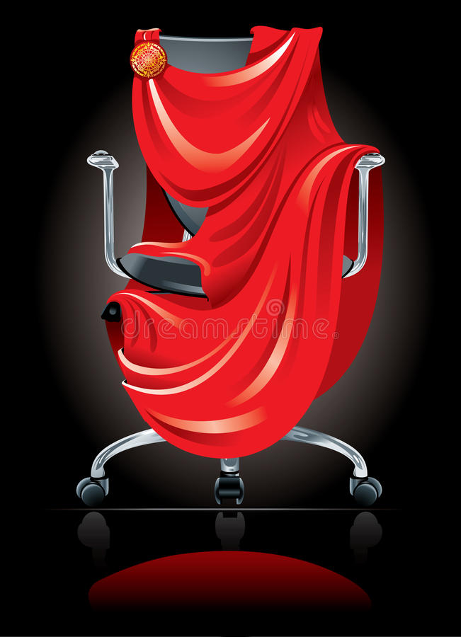 Office chair. Comfortable office chair decorated with a Roman tunic on its gorgeous black background with reflection. Concept best job. Vector