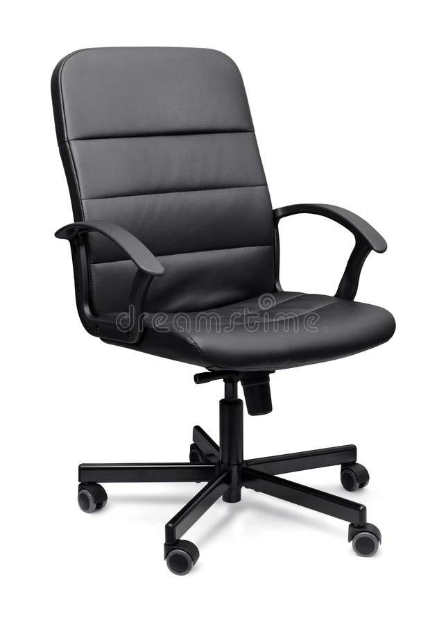 Office chair. Black leather office chair on whit stock photos