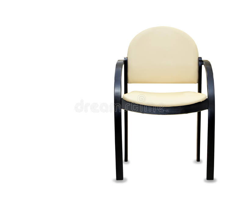 Office chair from beige leather. Isolated. Modern office chair from beige leather. Isolated royalty free stock image