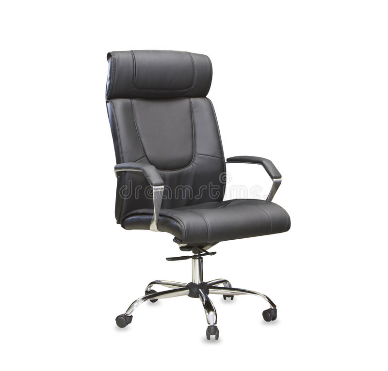 Office chair from black leather. Isolated. The office chair from black leather. Isolated stock photos