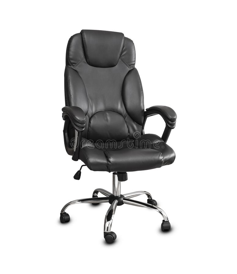 The office chair from black leather. Isolated on white background. royalty free stock images