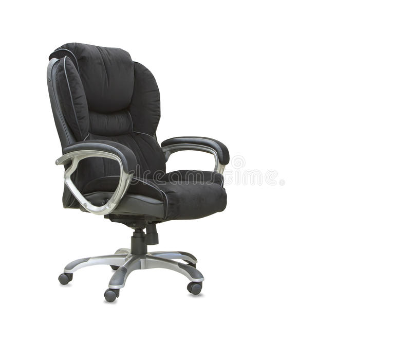 Office chair from black velours Isolated royalty free stock photography