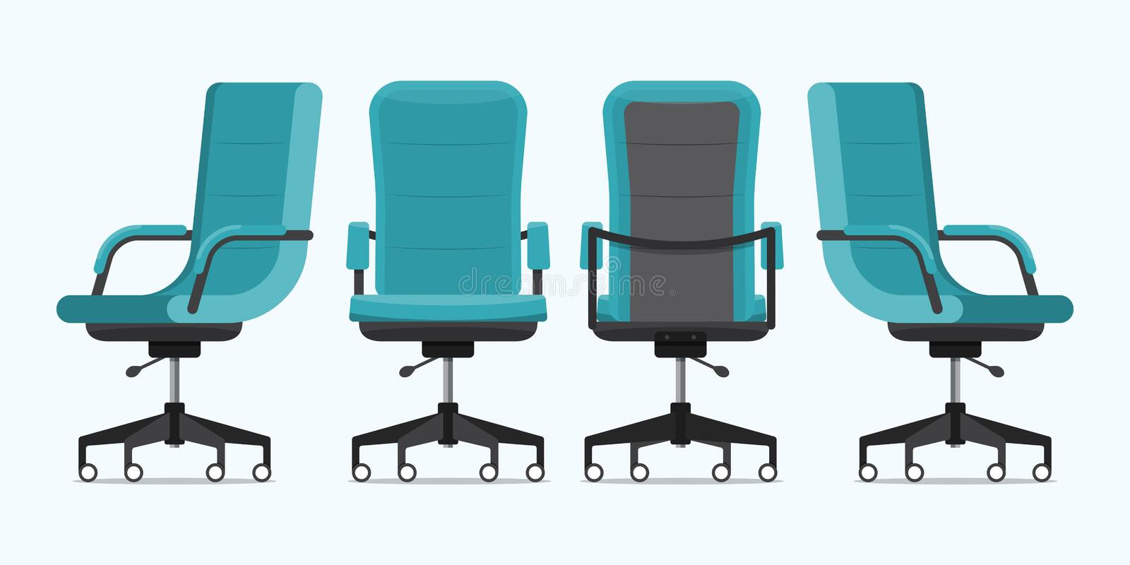Office chair or desk chair in various points of view. Armchair or stool in front, back, side angles. Blue furniture for Interior stock illustration