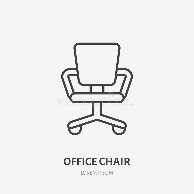 Office chair flat line icon. Apartment furniture sign, vector illustration of study room armchair. Thin linear logo for. Interior store vector illustration
