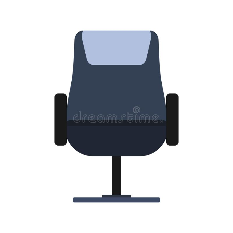 Free Office Chair Front View Vector Icon Fruniture. Seat Business Interior Element Work Job. Black Flat Ergonomic Equipment Stock Images - 162188704