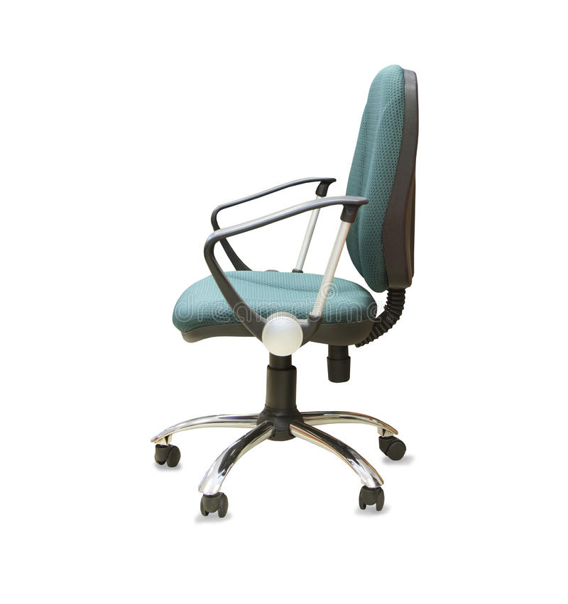 Office chair from green cloth isolated over white. Modern office chair from green cloth isolated over white stock images