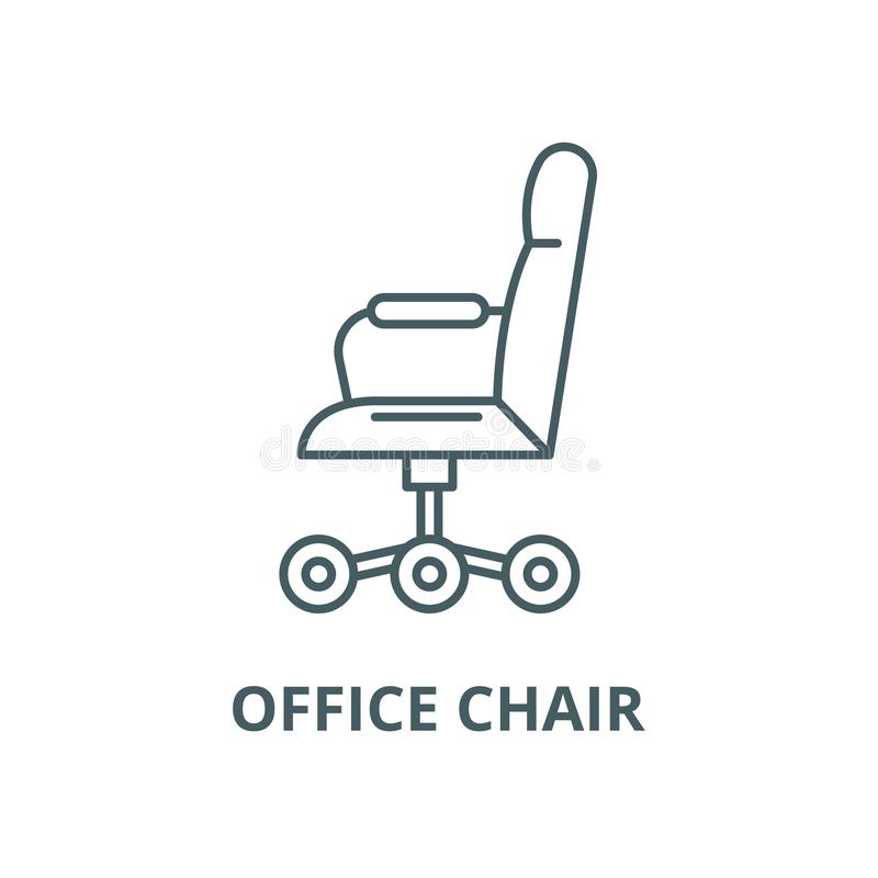 Office chair from the side vector line icon, linear concept, outline sign, symbol stock illustration