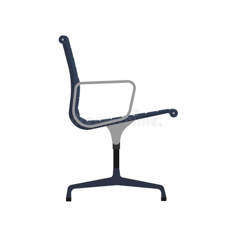 Office chair side view vector icon fruniture. Seat business interior element work job. Blue flat ergonomic equipment royalty free illustration