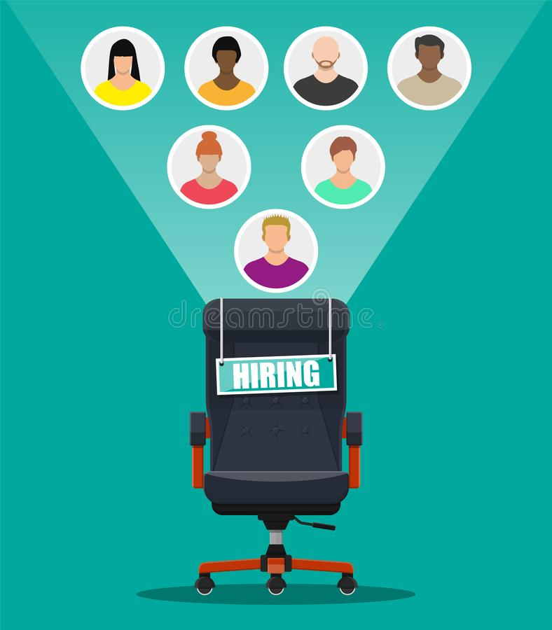 Office chair and sign vacancy in hand of boss. vector illustration