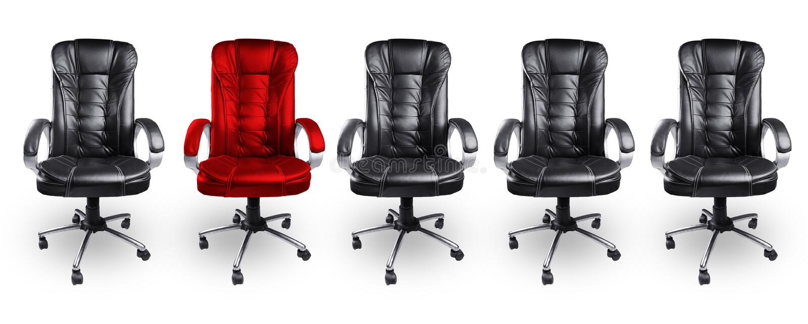 Office Chairs in Black and Red, Stand out Concept royalty free stock images