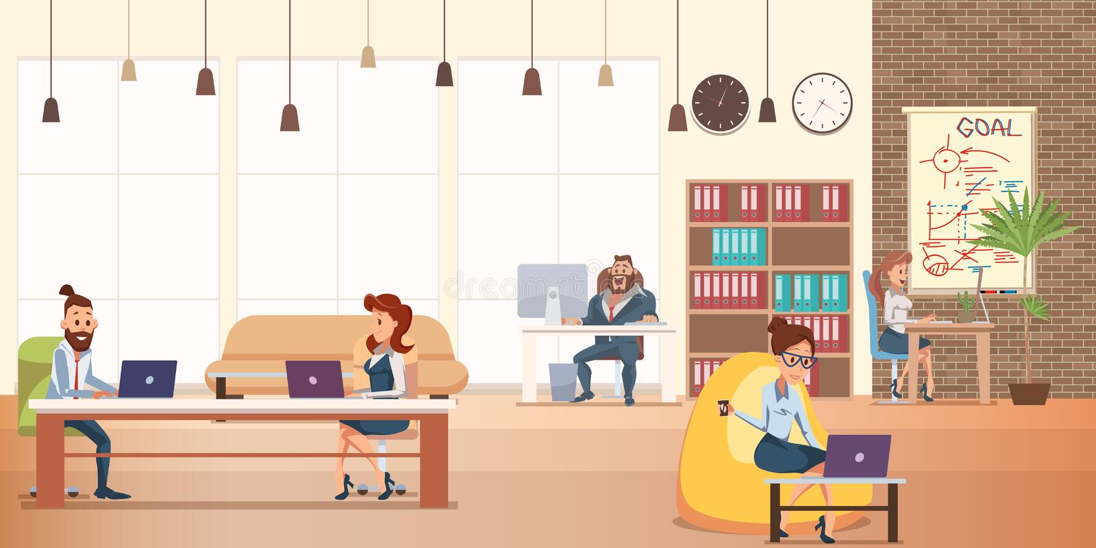 Office Character Work at Modern Creative Coworking vector illustration