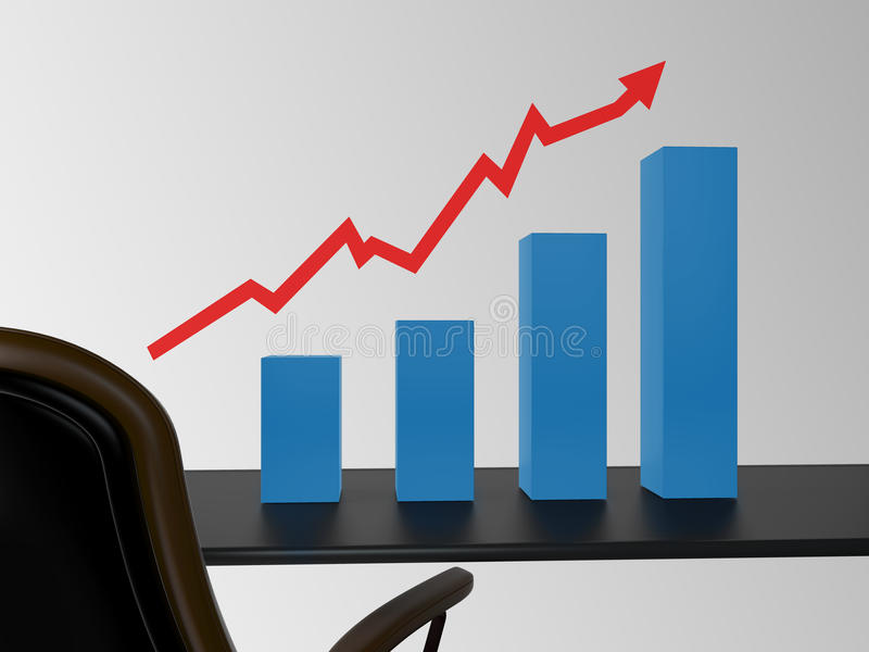 Office with chart. And arrow on table stock image