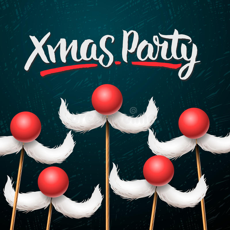 Office Christmas Party card, Santa moustache vector illustration