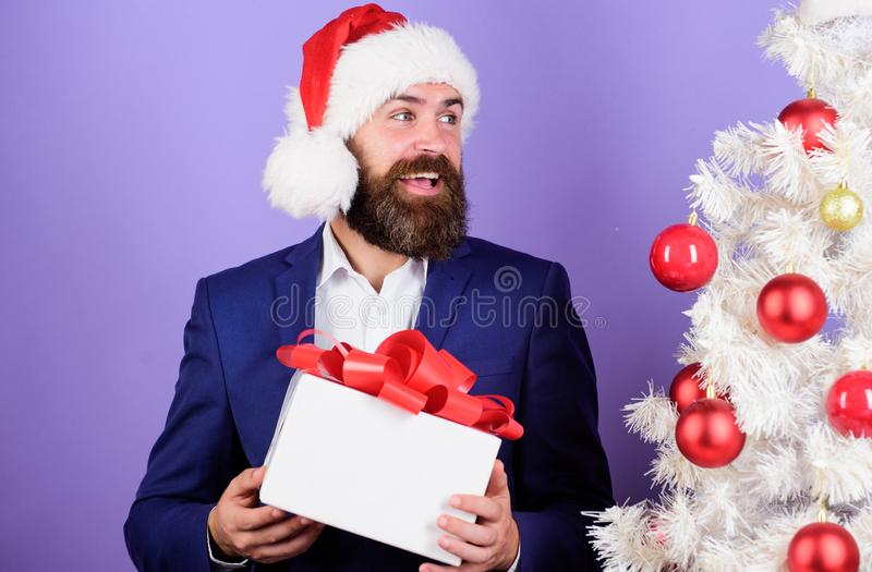Office christmas party. Winter holidays. Christmas greetings. Best gifts shop. Christmas gifts and decorations. Secret stock photo